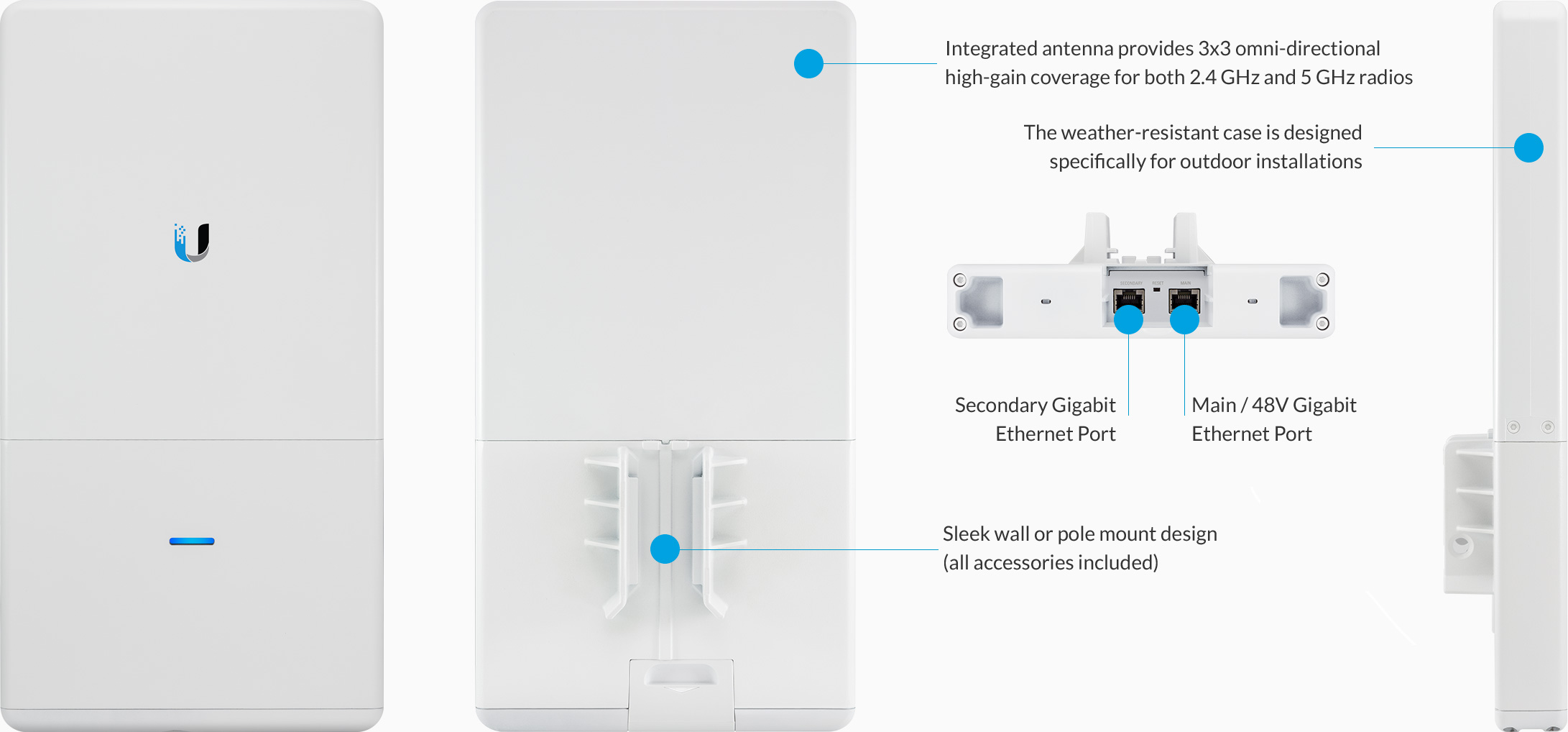 The UniFi AP AC Outdoor can be mounted seamlessly on any wall or pole mounting kits included The LED indicator simplifies deployment and configuration