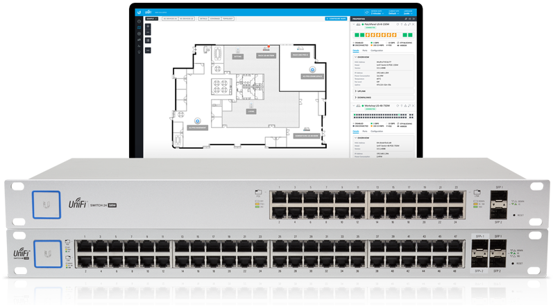 Managed by the UniFi Controller software, the UniFi Switch delivers powerful performance, intelligent switching, and PoE+ support for your enterprise networks.